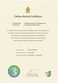 Carbon Neutral Certificate for Dilmah