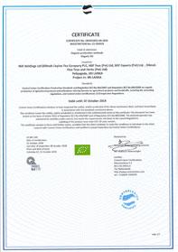 Organic certification  to Regulation (EC)  No 834/2007 and  Regulation